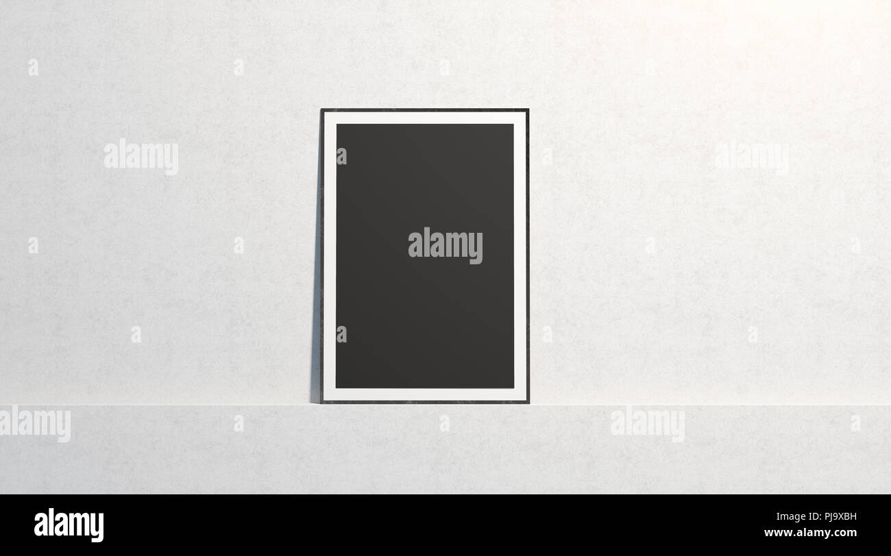 Blank black paper poster mock up, stand at white gallery wall ...