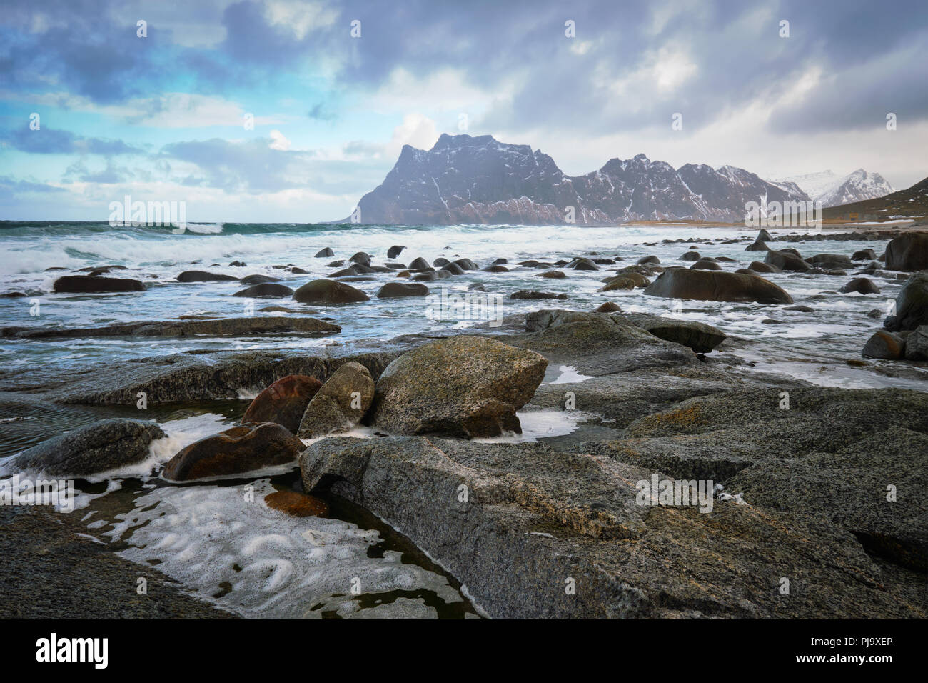 Beach of fjord in Norway - Stock Image