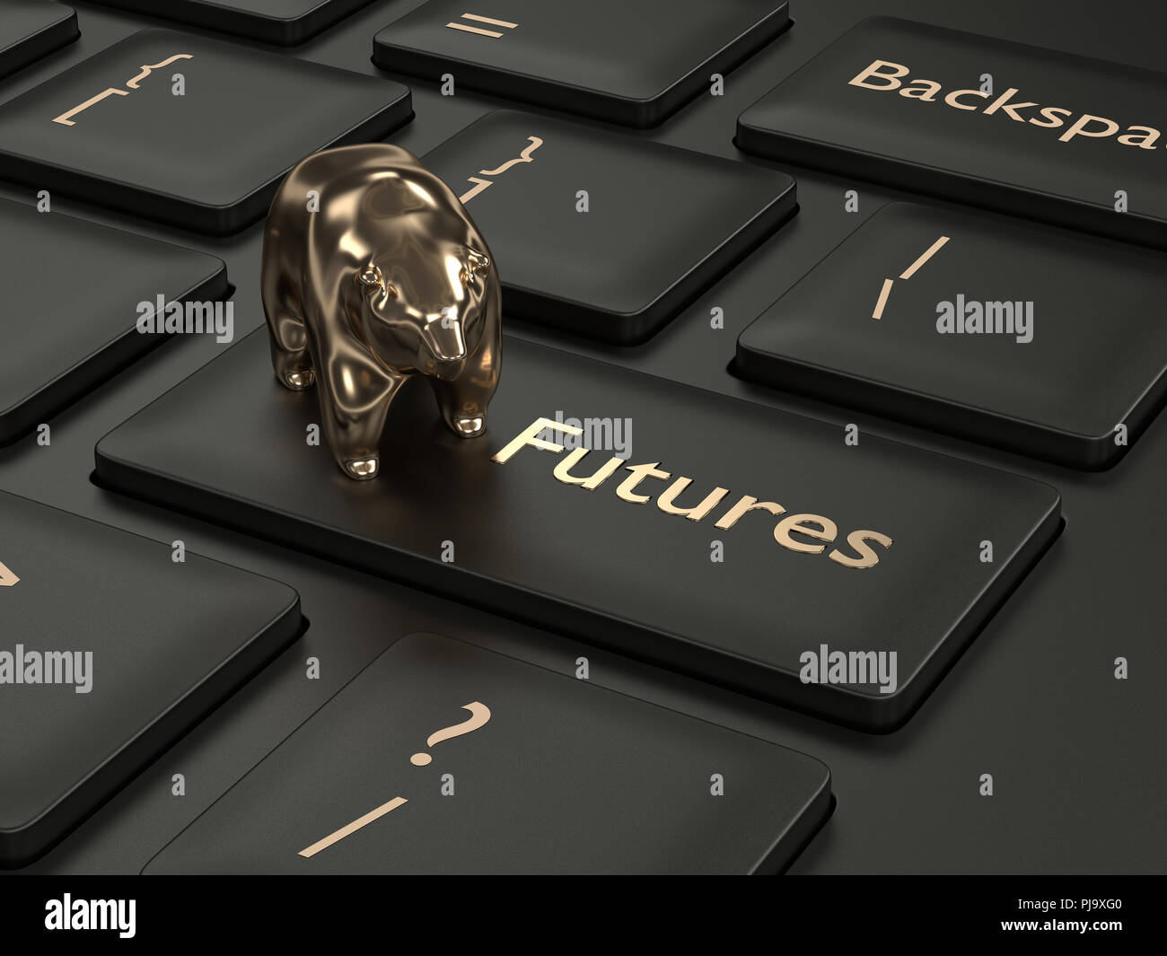 3d render of computer keyboard with FUTURES button. Stock market issue concept - Stock Image
