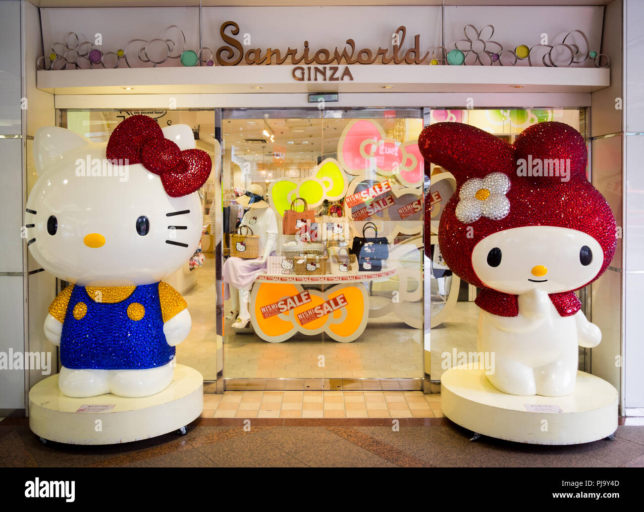 Hello Kitty and My Melody, two popular Sanrio characters, at Sanrioworld Ginza in Ginza, Tokyo, Japan. - Stock Image