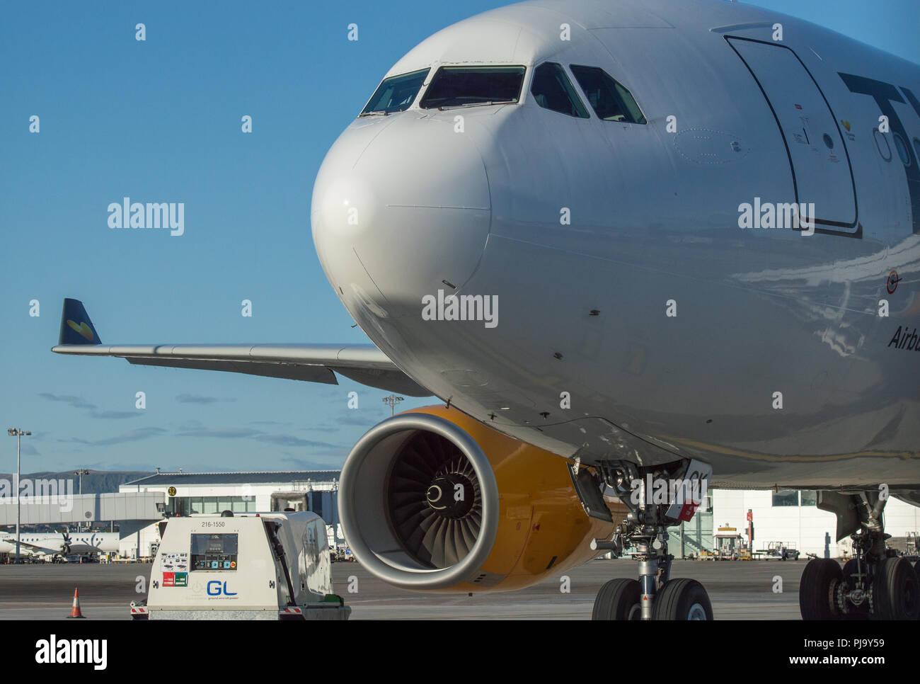 Thomas Cook Airbus A330 aircraft seen at Glasgow International Airport, Renfrewshire, Scotland - 10th September 2017 Stock Photo