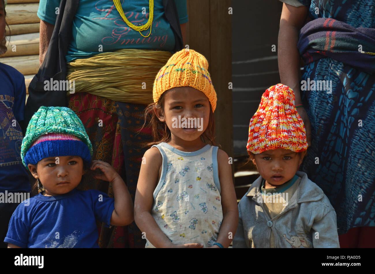 Dalit (untouchable) children in the village of Tamakhani, Solukhumbu, Nepal - Stock Image