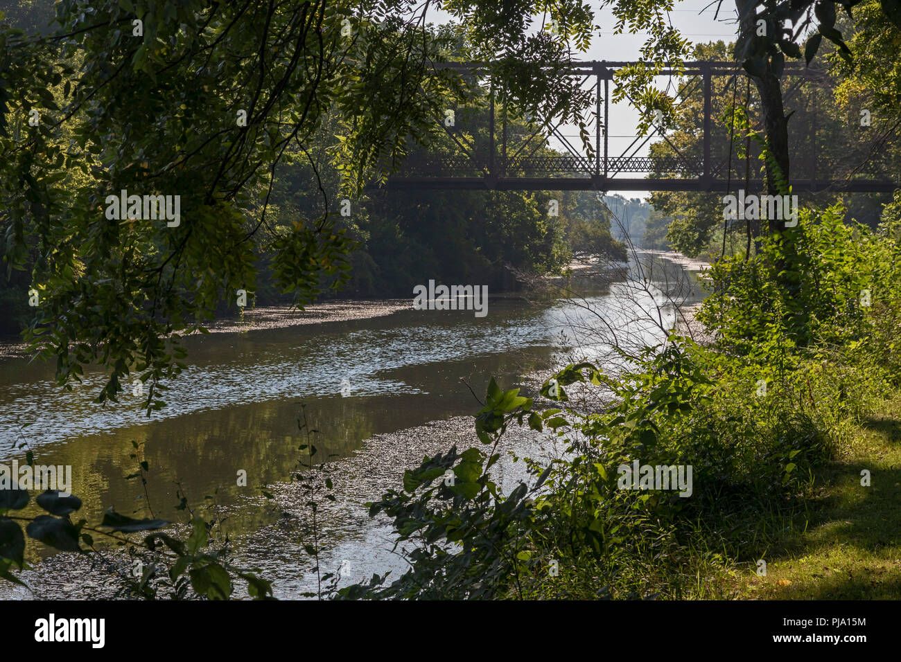Sheffield, Illinois - An old railroad bridge crosses the Hennepin Canal. The canal was completed in 1907 to link the Illinois and Mississippi Rivers,  - Stock Image