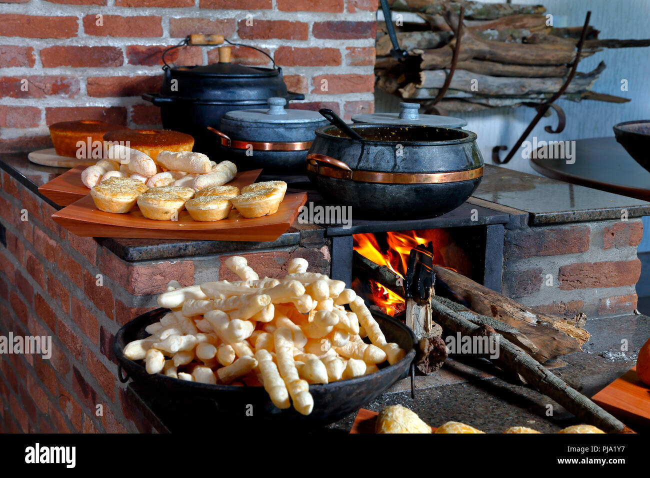 Wood stove in typical rural house in the interior of Brazil Stock Photo