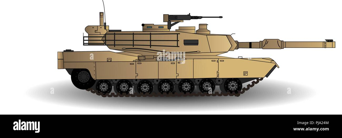 Abrams Main Battle Tank Vector Illustration. This is the Main Battle Tank of the American Army. Isolated on White Background. - Stock Vector