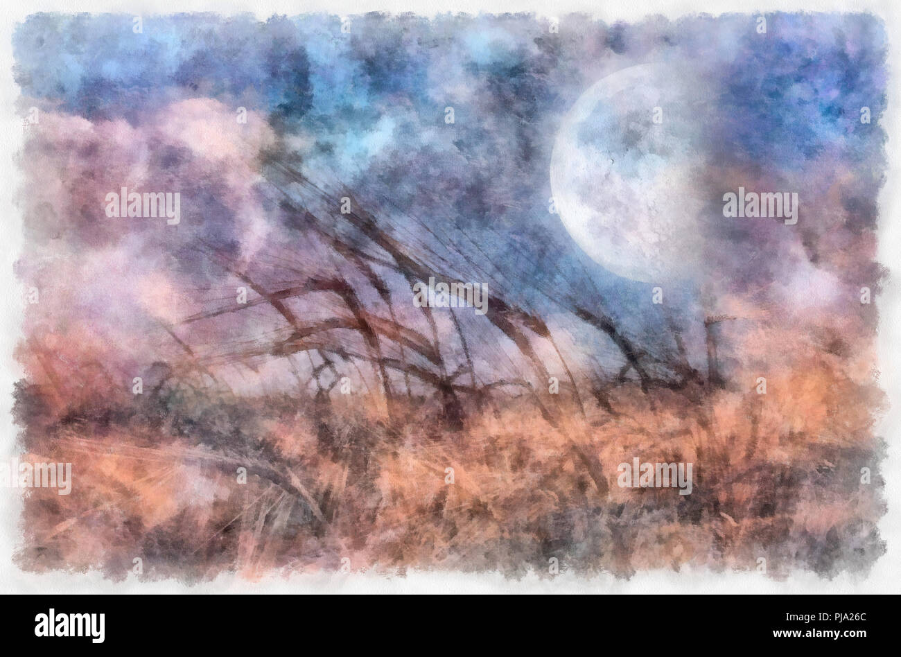Surreal painting. Field of wheat, full moon in the sky. - Stock Image