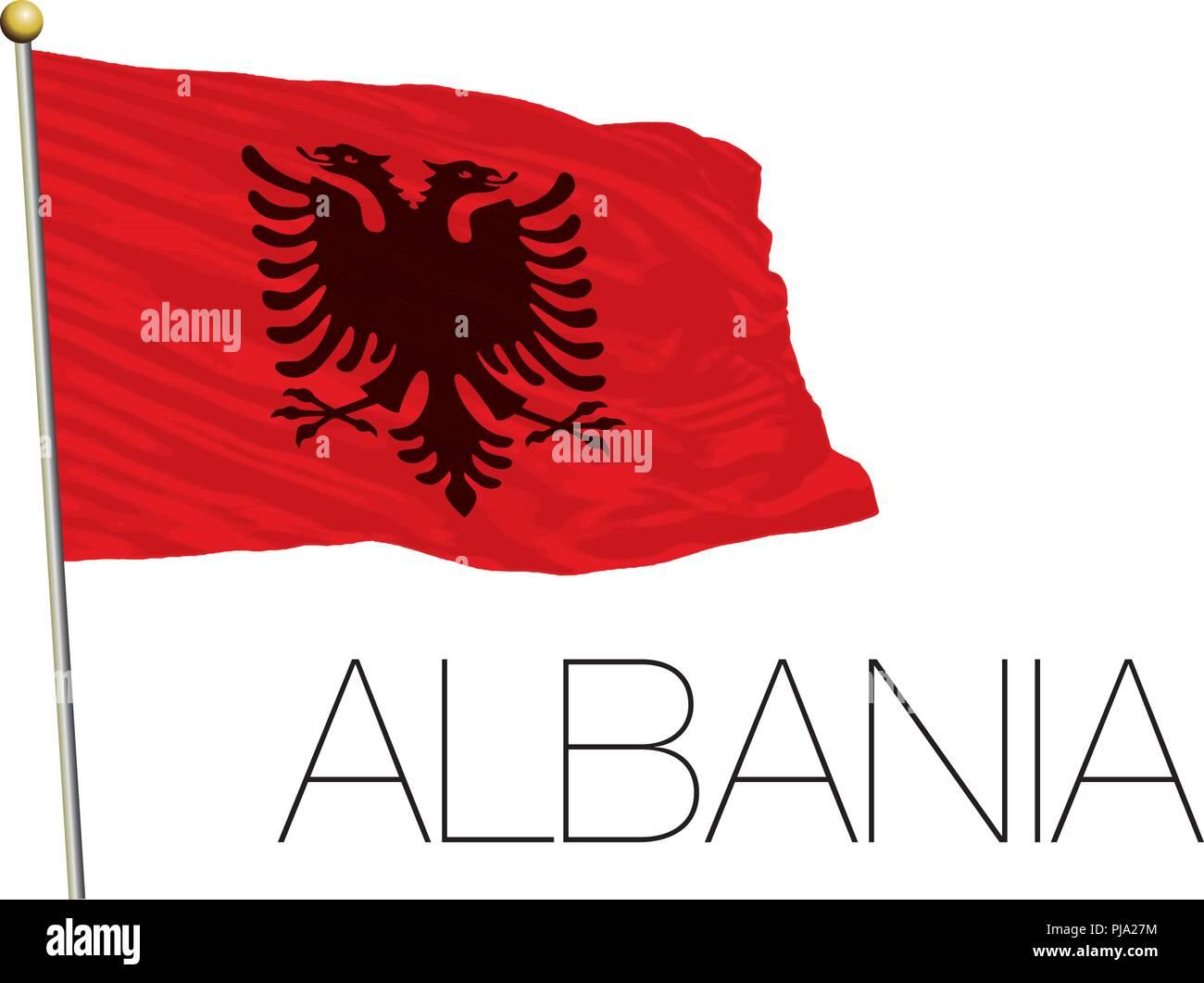 Albania flag on the white background - Stock Vector