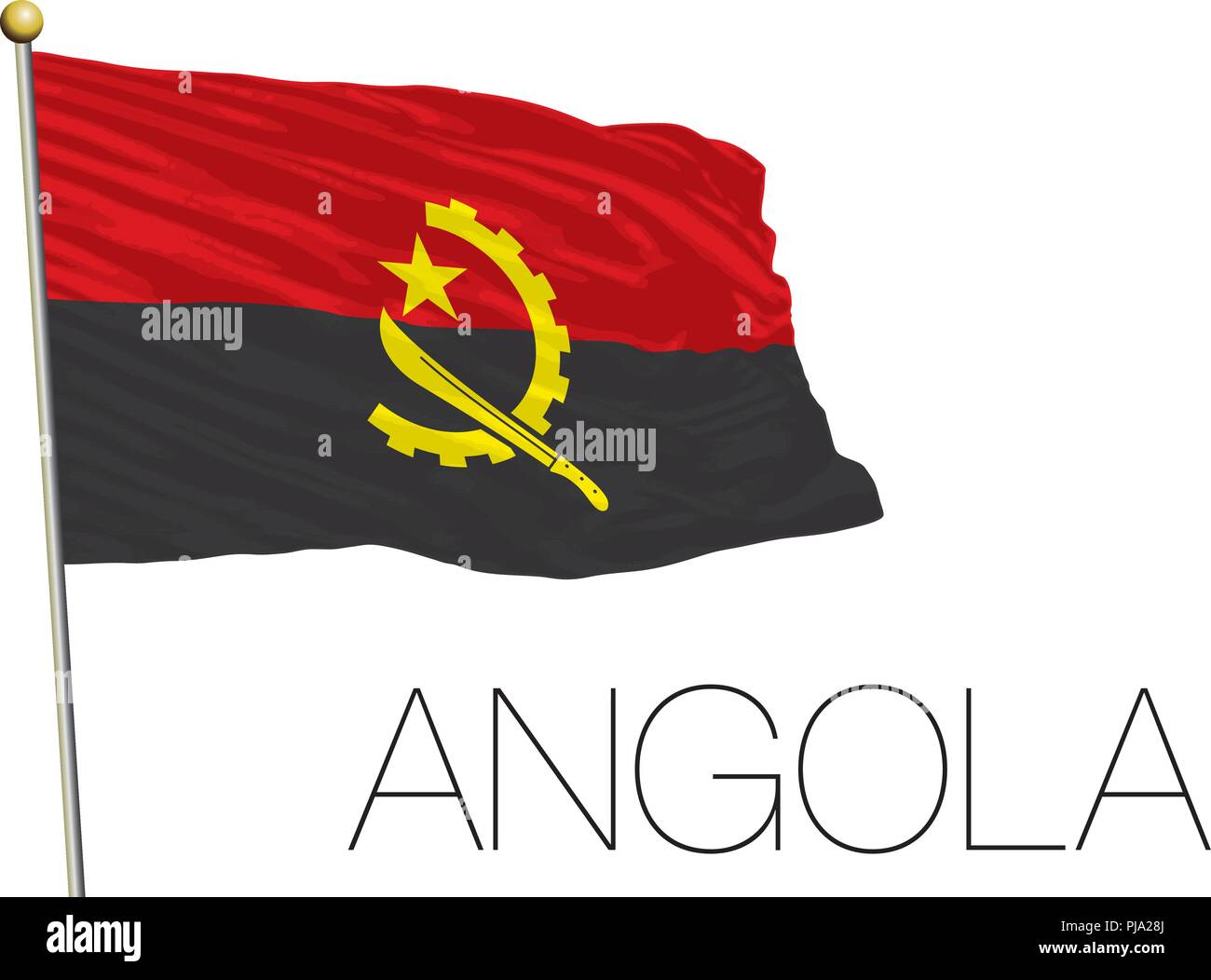 Angola national flag, vector illustration - Stock Image
