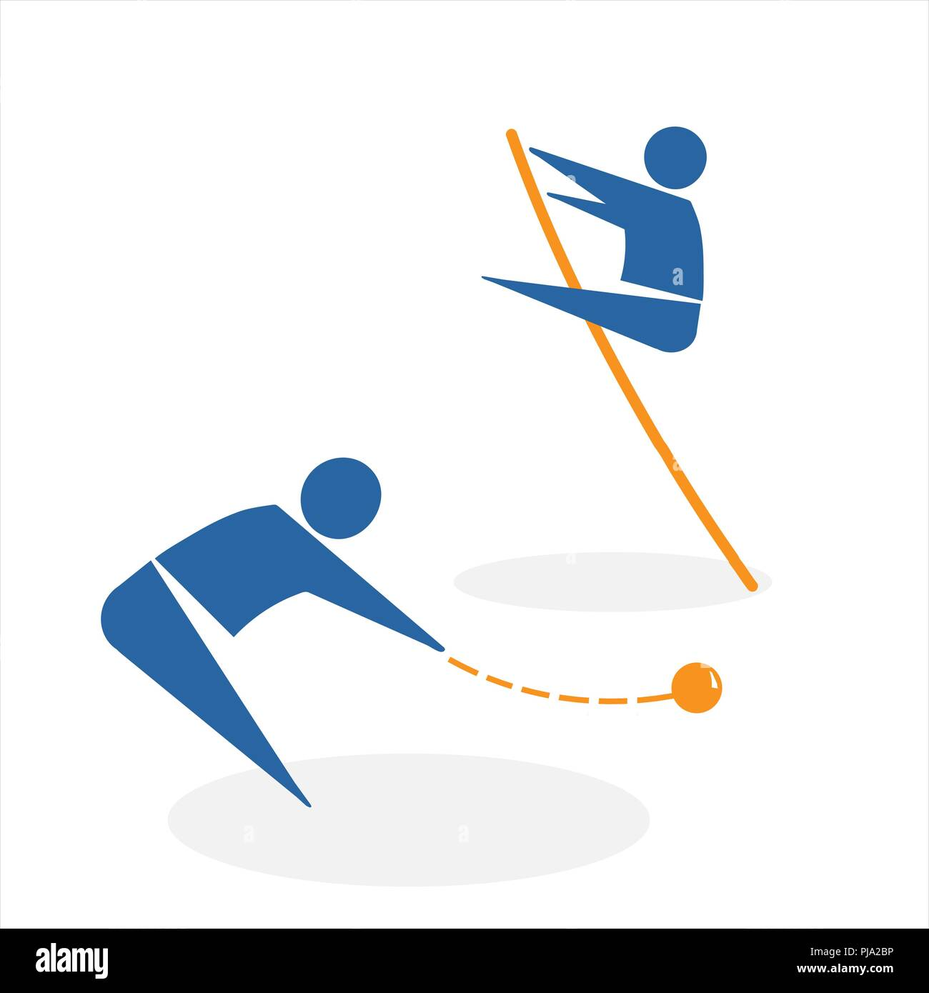 throwing the core and pole vault - Stock Vector