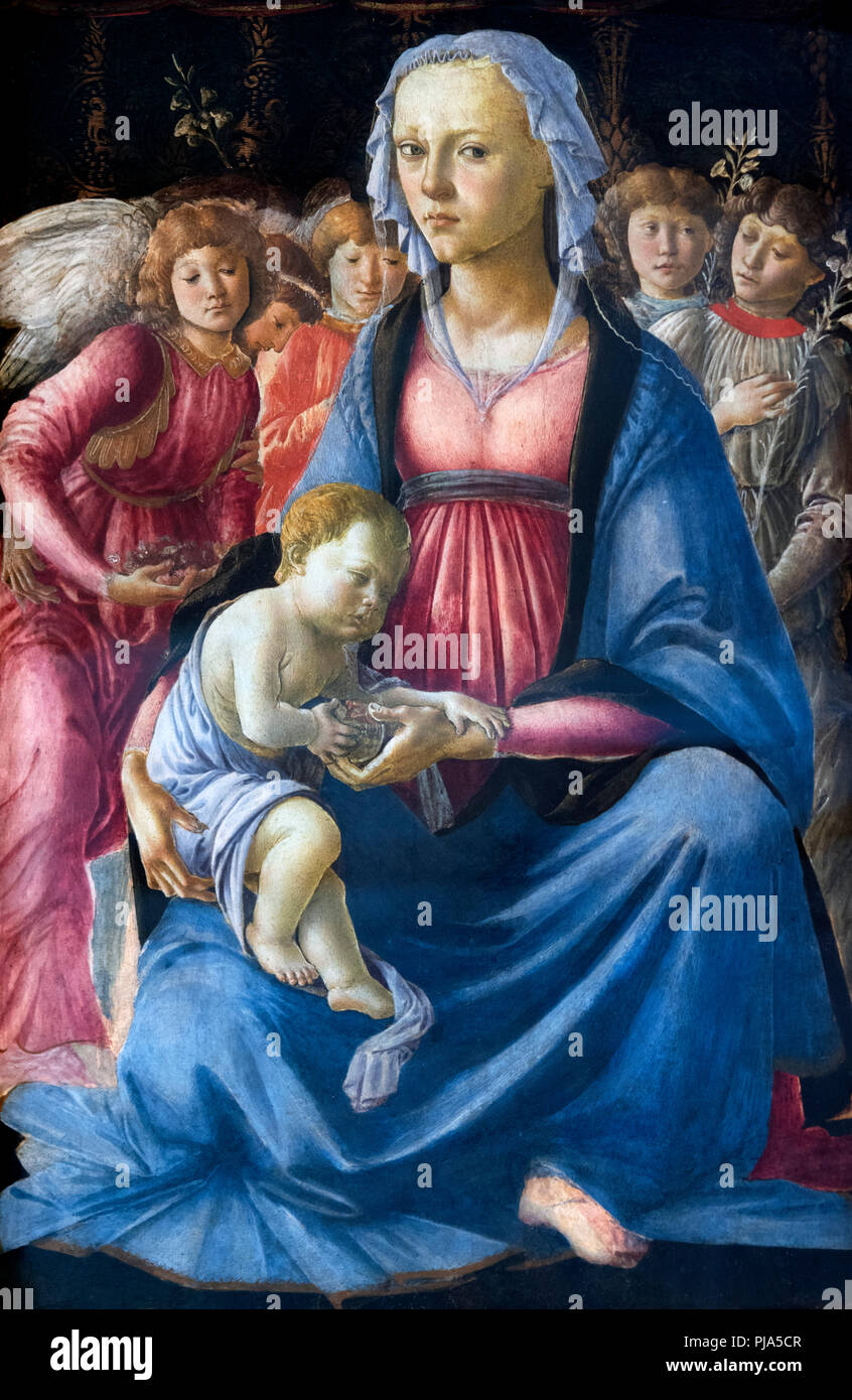 Madonna and Child with Five Angels by Sandro Botticelli (Alessandro di Mariano di Vanni Filipepi, c.1445-1510), tempera on wood, c.1470 - Stock Image