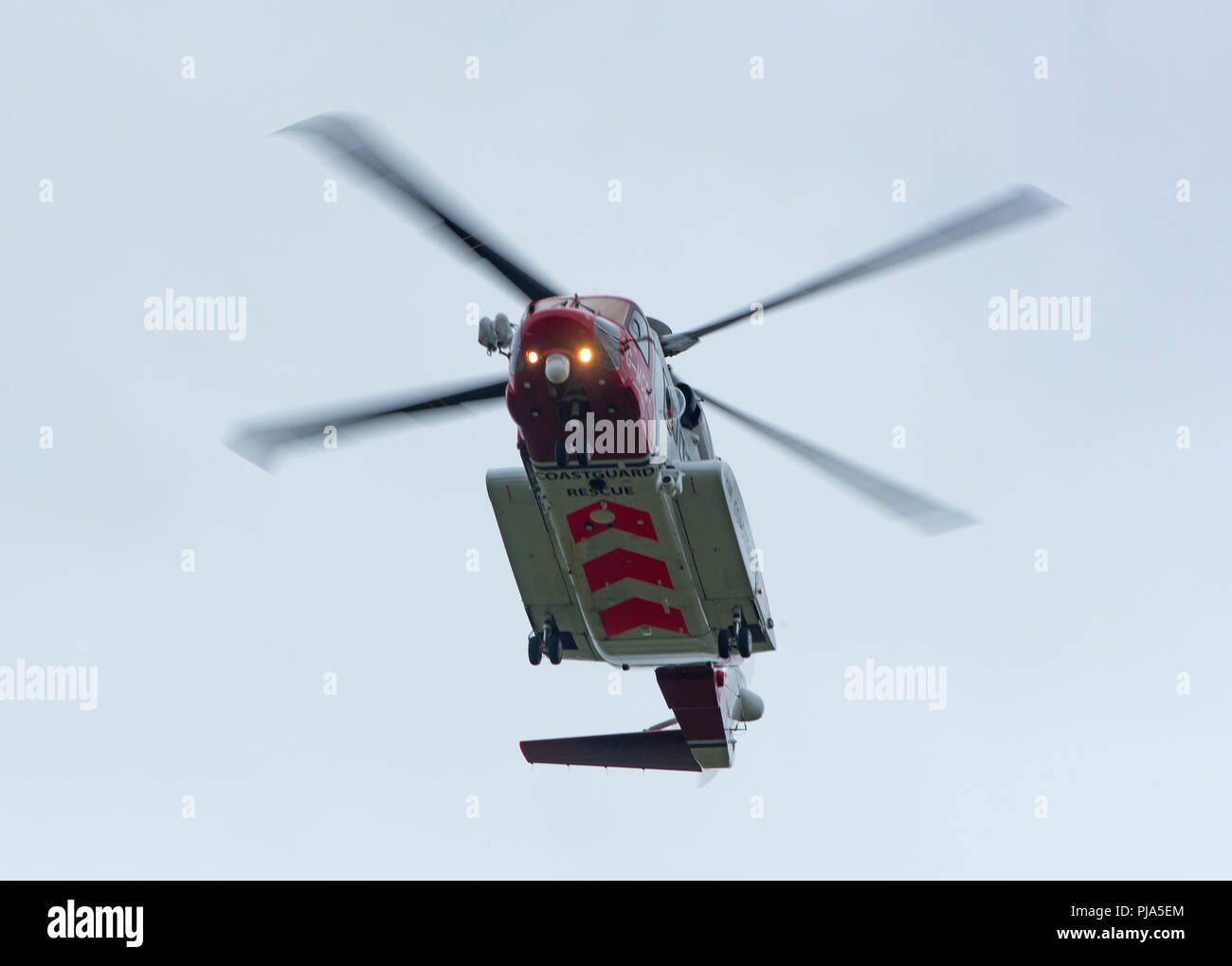 The Sikorsky S-92 HM Coastguard Helicopter leaving is Inverness Base for the Isle of Sky on the West Coast. - Stock Image