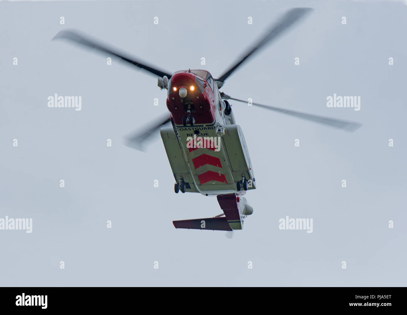 The Sikorsky S-92 HM Coastguard Helicopter leaving is Inverness Base for the Isle of Sky on the West Coast. Stock Photo