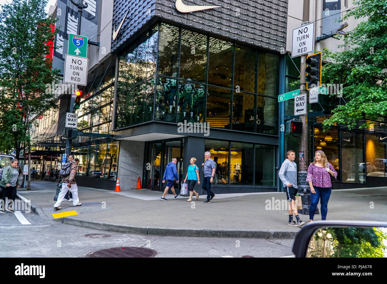 A Nike Store in Downtown in Seattle Washington Stock Photo ...