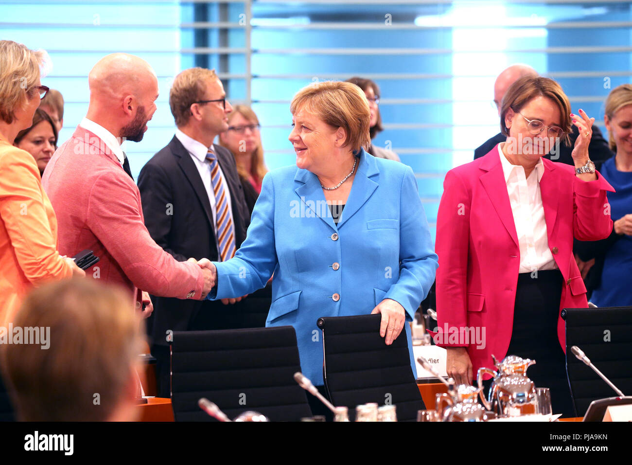 Berlin, Germany. 05th Sep, 2018. Federal Chancellor Angela Merkel (CDU) welcomes Education Ministers and teachers for a talk at the Federal Chancellery. Credit: Wolfgang Kumm/dpa/Alamy Live News - Stock Image