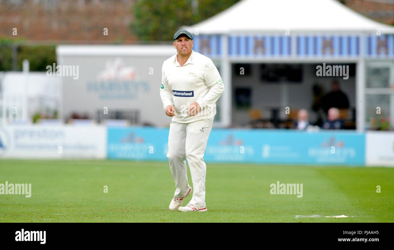 Hove UK 5th September 2018 - Mark Cosgrove of Leicestershire fielding against Sussex  on the second day of the Specsavers County Championship Division Two cricket match at the 1st Central County Ground in Hove Credit: Simon Dack/Alamy Live News - Stock Image