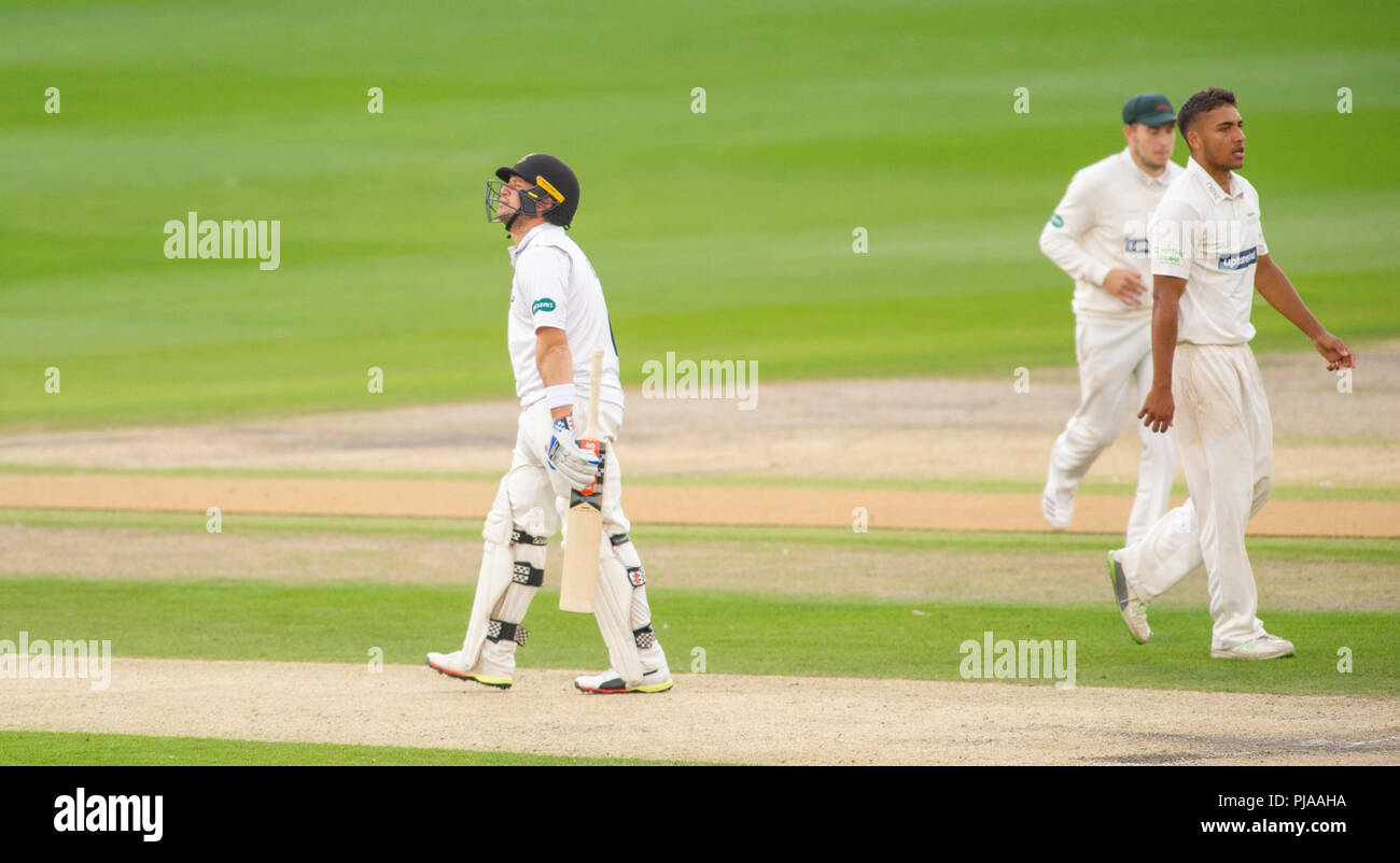 Hove UK 5th September 2018 - Harry Finch of Sussex is dismissed LBW for 35 runs off the bowling of Ben Mike of Leicestershire on the second day of the Specsavers County Championship Division Two cricket match at the 1st Central County Ground in Hove Credit: Simon Dack/Alamy Live News - Stock Image