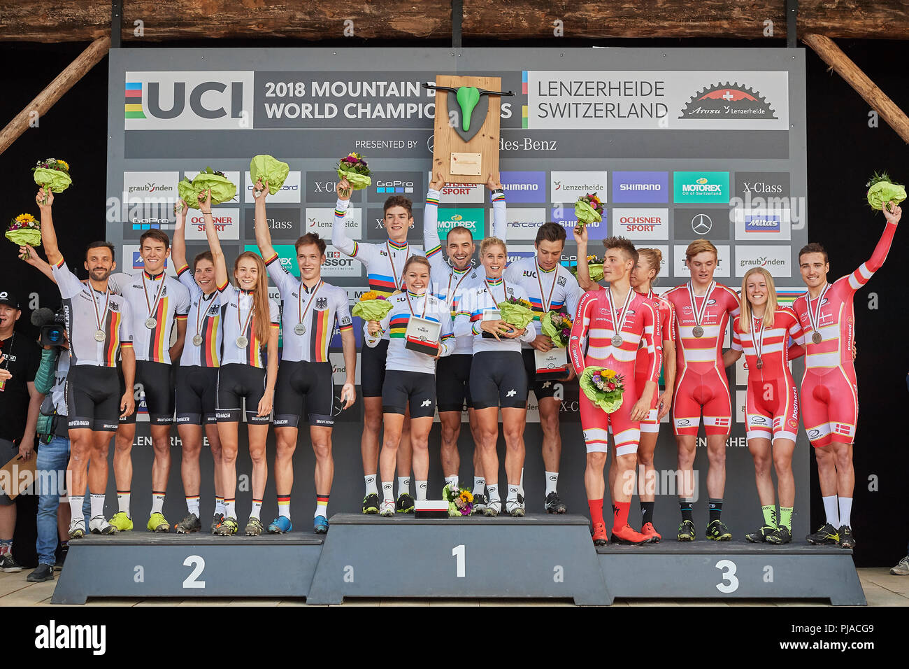 Lenzerheide, Switzerland. 5th September 2018. The Podium of the UCI 2018 Mountain Bike World Championships Cross Country Team Relay in Lenzerheide. Credit: Rolf Simeon/Alamy Live News - Stock Image
