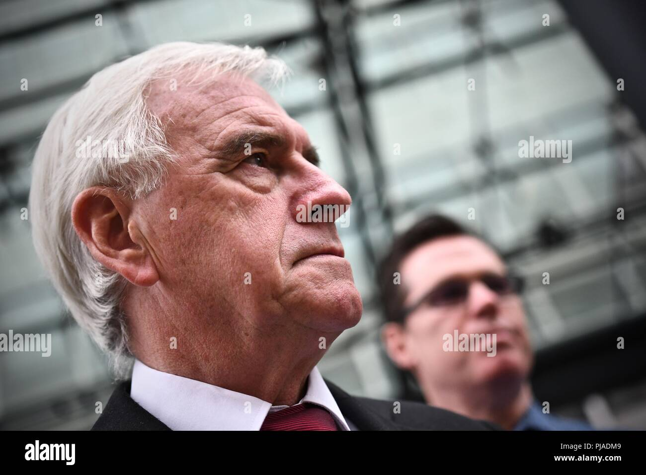 Westminster London United Kingdom - 5th September 2018 - PCS BEIS Living Wage Demo outside the Ministry Of Justice lead By John McDonnell MP. Aim to bring attention to the absence of living wage for cleaners in the Ministry of Justice. Credit: Stuart Mitchell/Alamy Live News Stock Photo