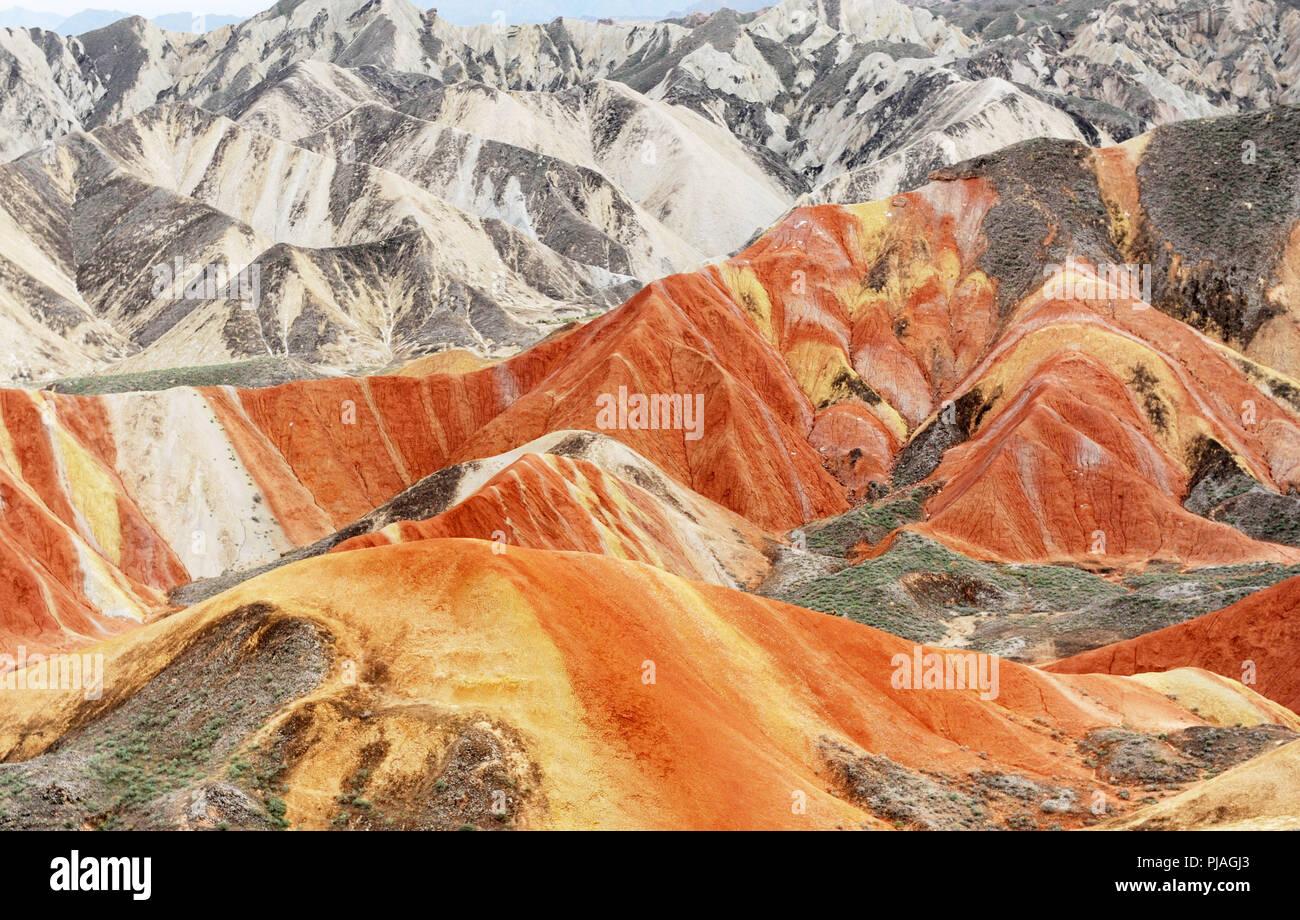 Zhangye. 5th Sep, 2018. Photo taken on Sept. 5, 2018 shows the scenery of Danxia landform in Zhangye City, northwest China's Gansu Province. Credit: Wei Hai/Xinhua/Alamy Live News - Stock Image