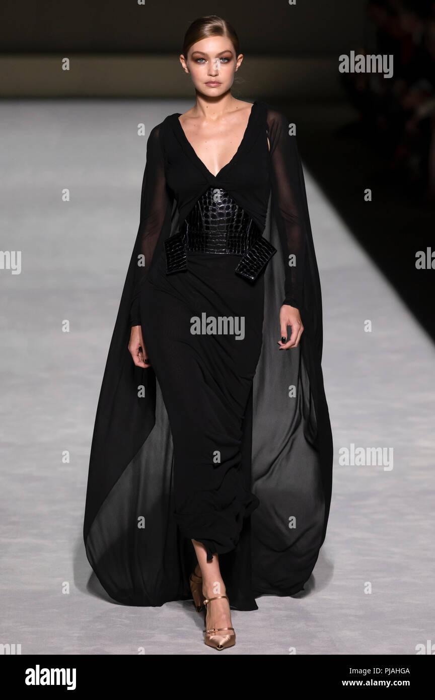 New York, USA. 5th Sep 2018. Gigi Hadid walks the runway at the Tom Ford Spring Summer 2019 fashion show during New York Fashion Week Credit: Ovidiu Hrubaru/Alamy Live News - Stock Image