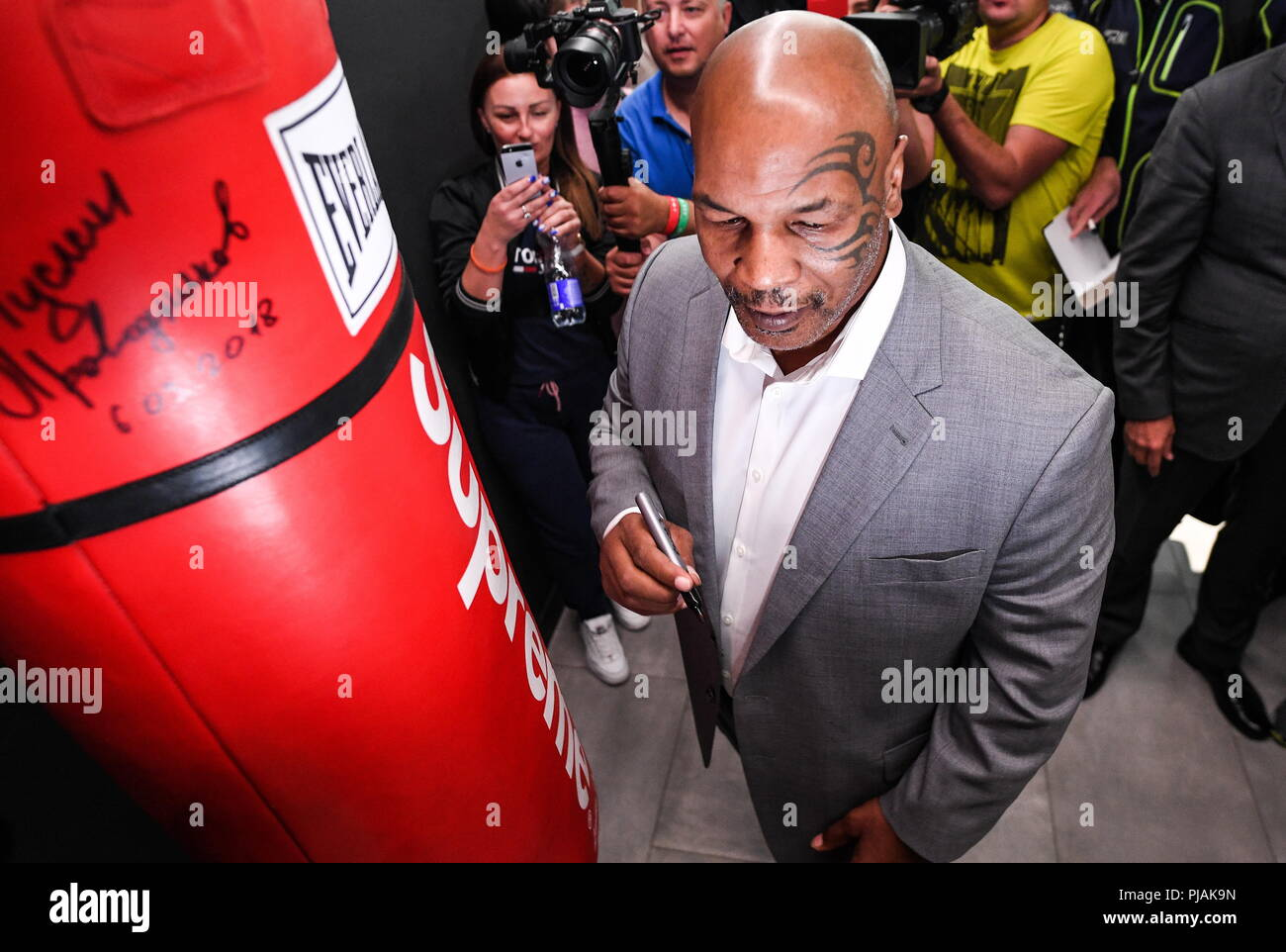 Yekaterinburg, Russia. 06th Sep, 2018. YEKATERINBURG, RUSSIA - SEPTEMBER 6, 2018: American professional boxer Mike Tyson during a boxing masterclass for RCC Boxing Promotions boxers and children at the Martial Arts Academy established by the Russian Copper Company. Donat Sorokin/TASS Credit: ITAR-TASS News Agency/Alamy Live News - Stock Image