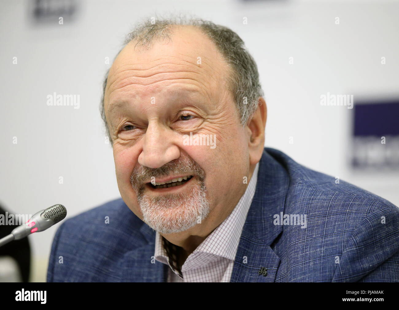 St Petersburg, Russia. 06th Sep, 2018. ST PETERSBURG, RUSSIA - SEPTEMBER 6, 2018: Baltic House Festival Theatre General Director Sergei Shub during a press conference on the Europe Theatre Prize. Peter Kovalev/TASS Credit: ITAR-TASS News Agency/Alamy Live News Stock Photo