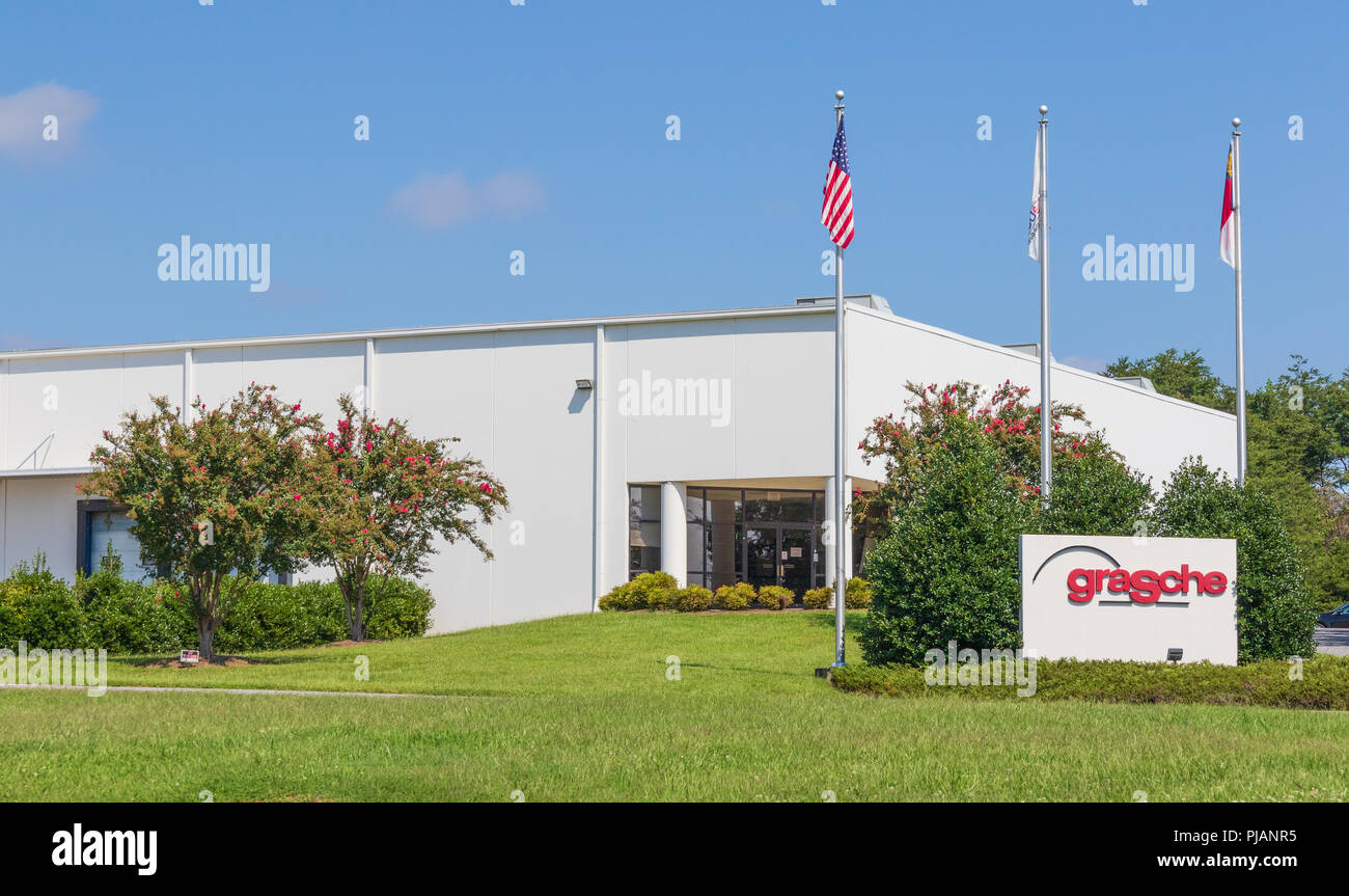 HICKORY, NC, USA-9/2/18: Grasche is a manufacturer of custom saw bodies, circular saw plates & steel cores. Stock Photo