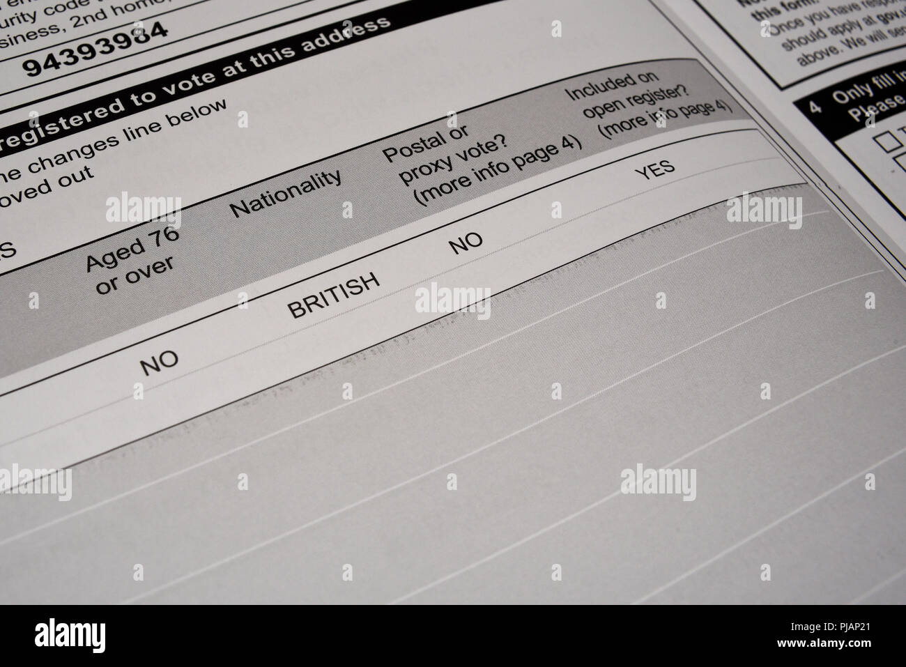 Electoral register form for UK British citizens. Register to vote in elections. Eligible to vote. Nationality British. Open register. British citizen - Stock Image