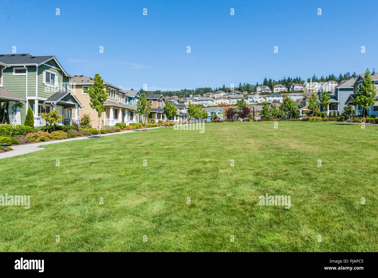 A housing development in the Issaquah Highlands, Washington, USA - Stock Image