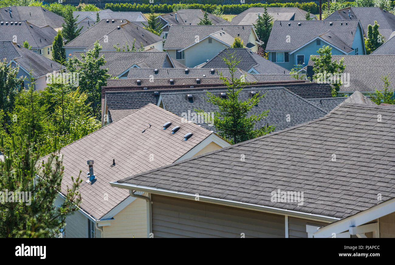 Rooftops of a housing development in the Issaquah Highlands, Washington, USA Stock Photo