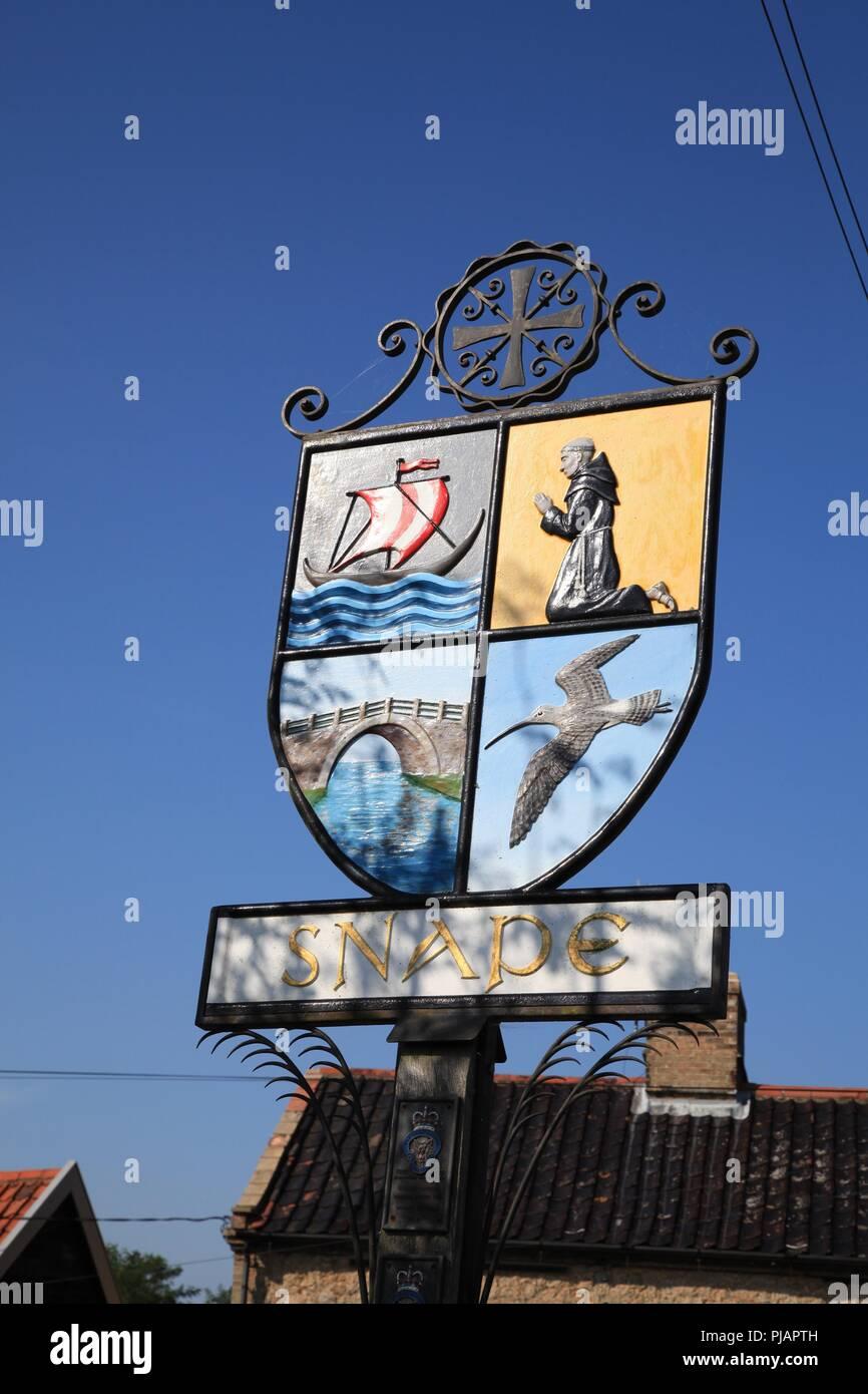 Snape Village sign Suffolk - Stock Image