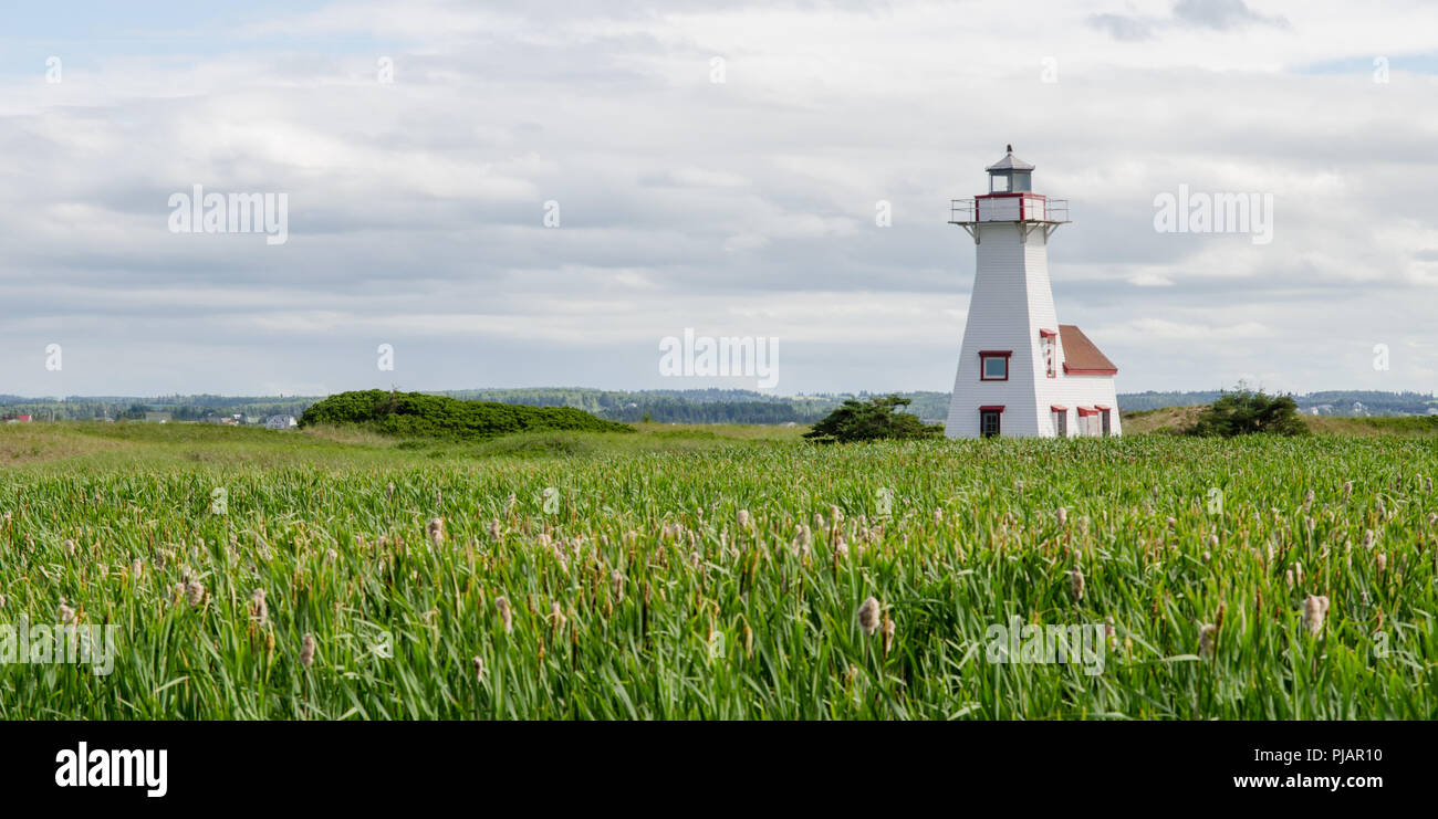 The lighthouse at French River, Prince Edward Island. Stock Photo