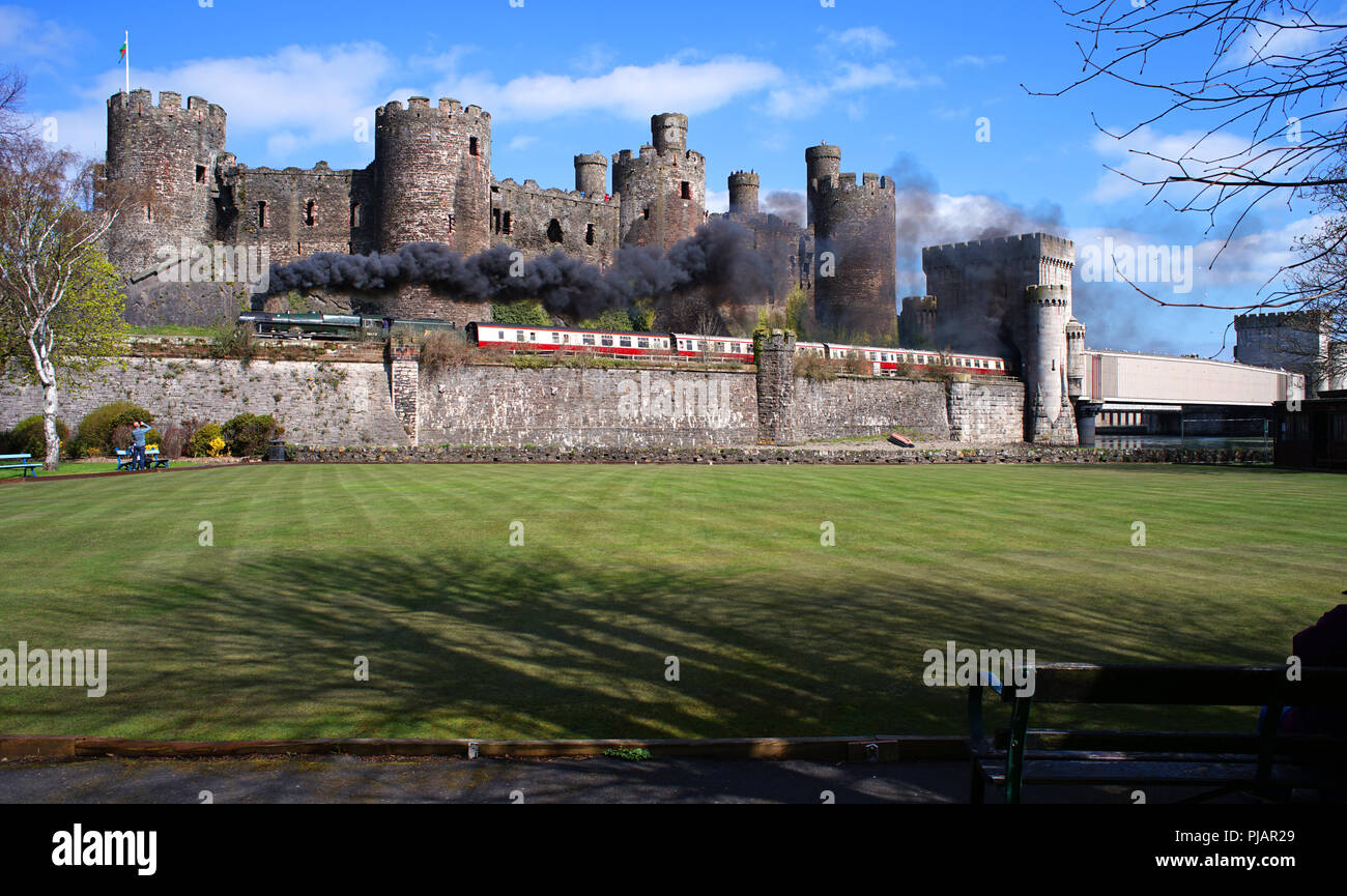 Royal Scot steam train travelling past Conwy Castle, coming out of Telford's railway bridge. This shot taken in April 2018. - Stock Image
