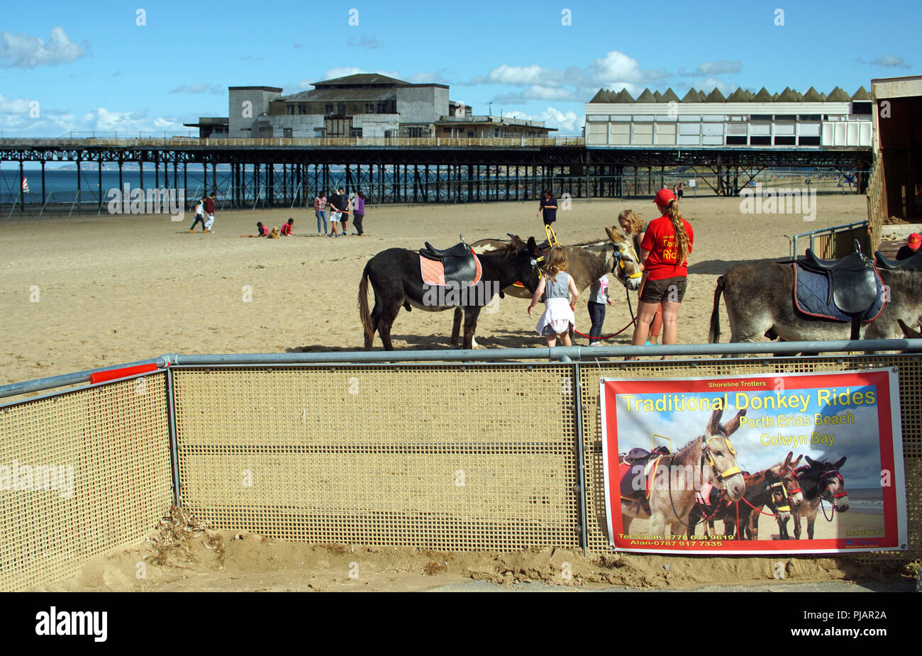 Porth Eirias Beach, Colwyn Bay August 2015. Pier has now been demolished by the council. Traditional Donkey rides. - Stock Image