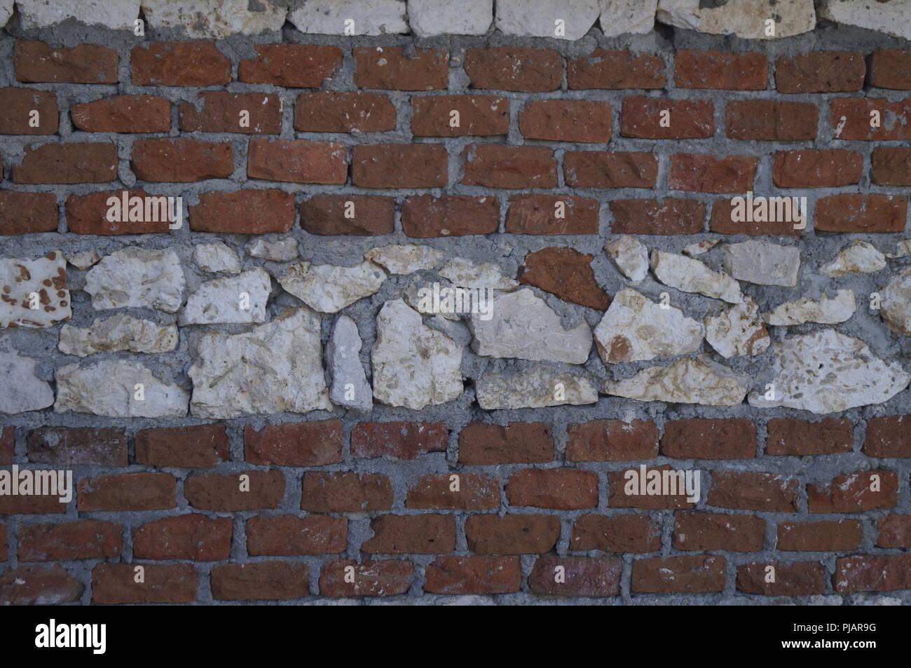 Stone and bricks wall background Stock Photo
