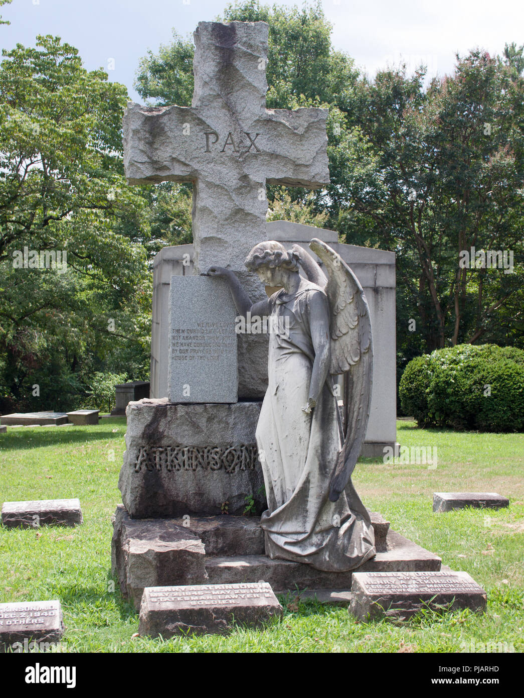 Angel Grave in Hollywood Cemetery Richmond Virginia - Stock Image