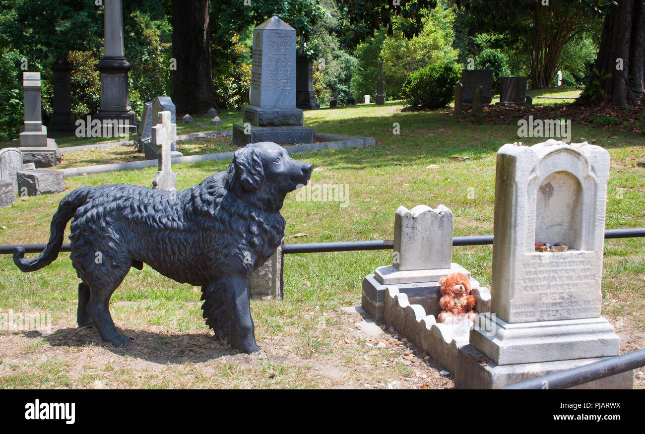 Dog Statue on childs grave in Richmond Virginia - Stock Image