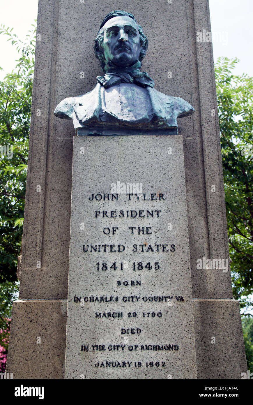 President John Tylers Grave in Hollywood Cemetery Richmond Virginia - Stock Image