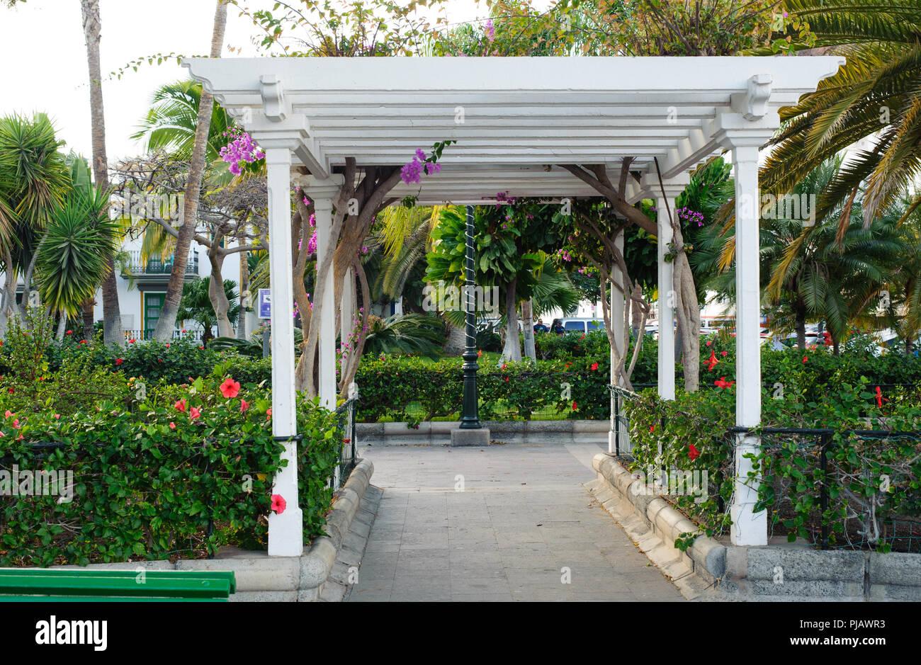 Beautiful White Pavilion In The Small Garden In Puerto De Mogan Village ,  Gran Canaria, Spain,