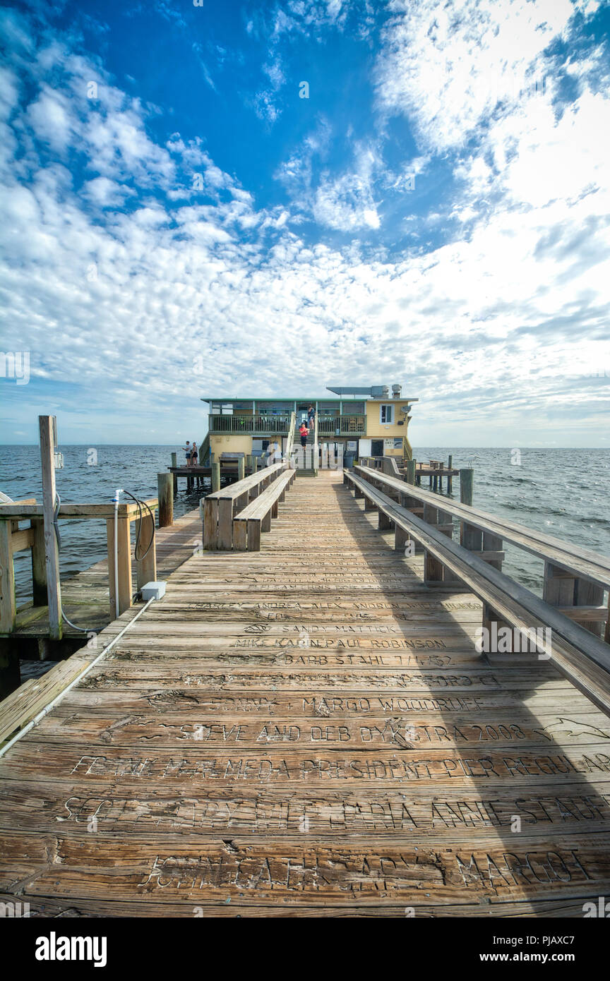 The Rod and Reel Pier is a popular tourist attraction in picturesque Anna Maria Island, on the Gulf cost of Florida, USA - Stock Image