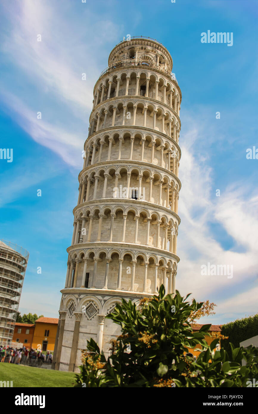 The leaning Tower of Pisa in the Cathedral Square Piazza Del Duomo, an architectural landmark freestanding belltower in Italy, Europe - Stock Image