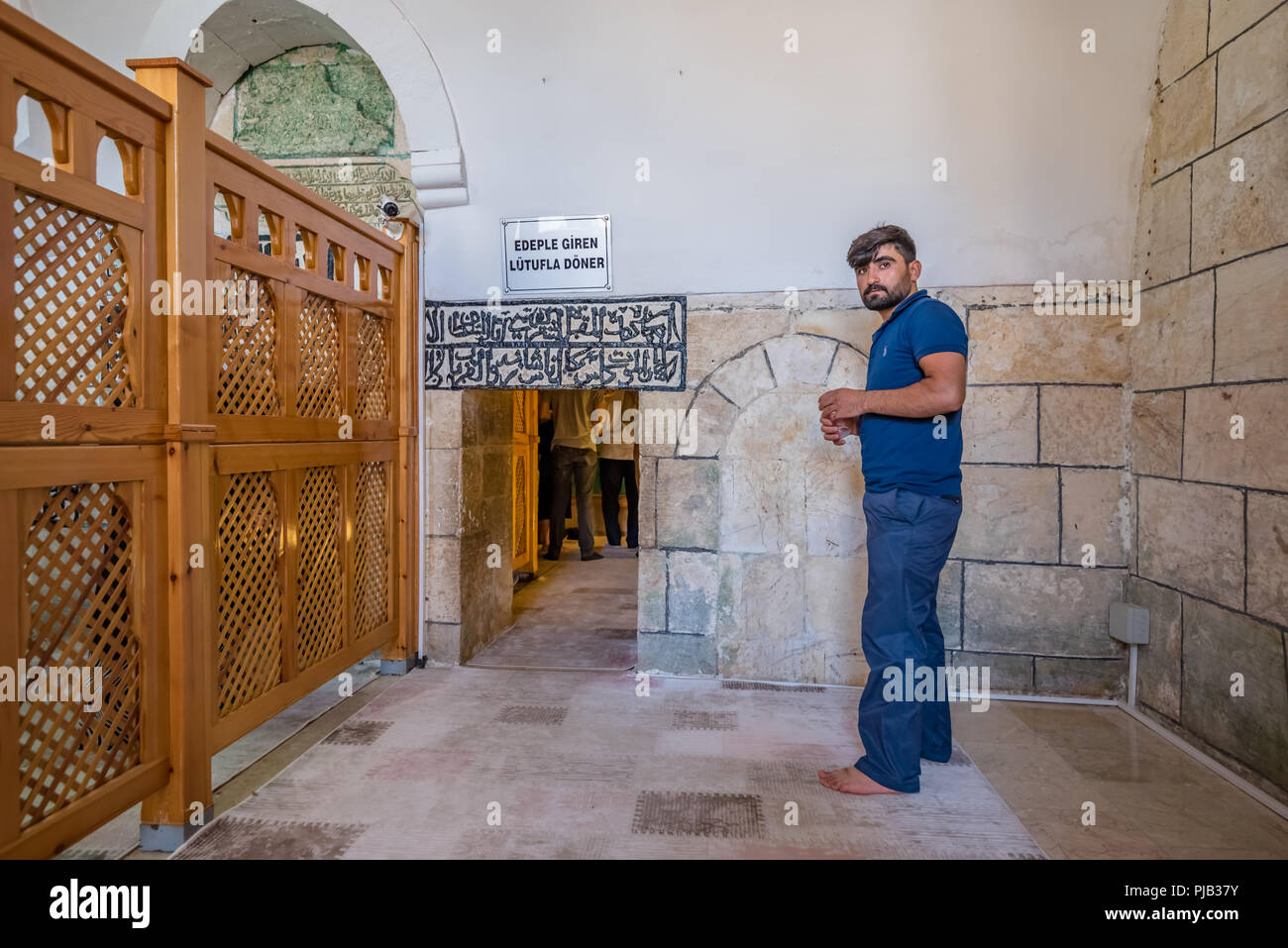 Prophet Abraham Stock Photos Images Alamy Wiring Diagram Unidentified Man Prays In Cave Where Was Born At Courtyard Of Mevlidi Halil Mosque