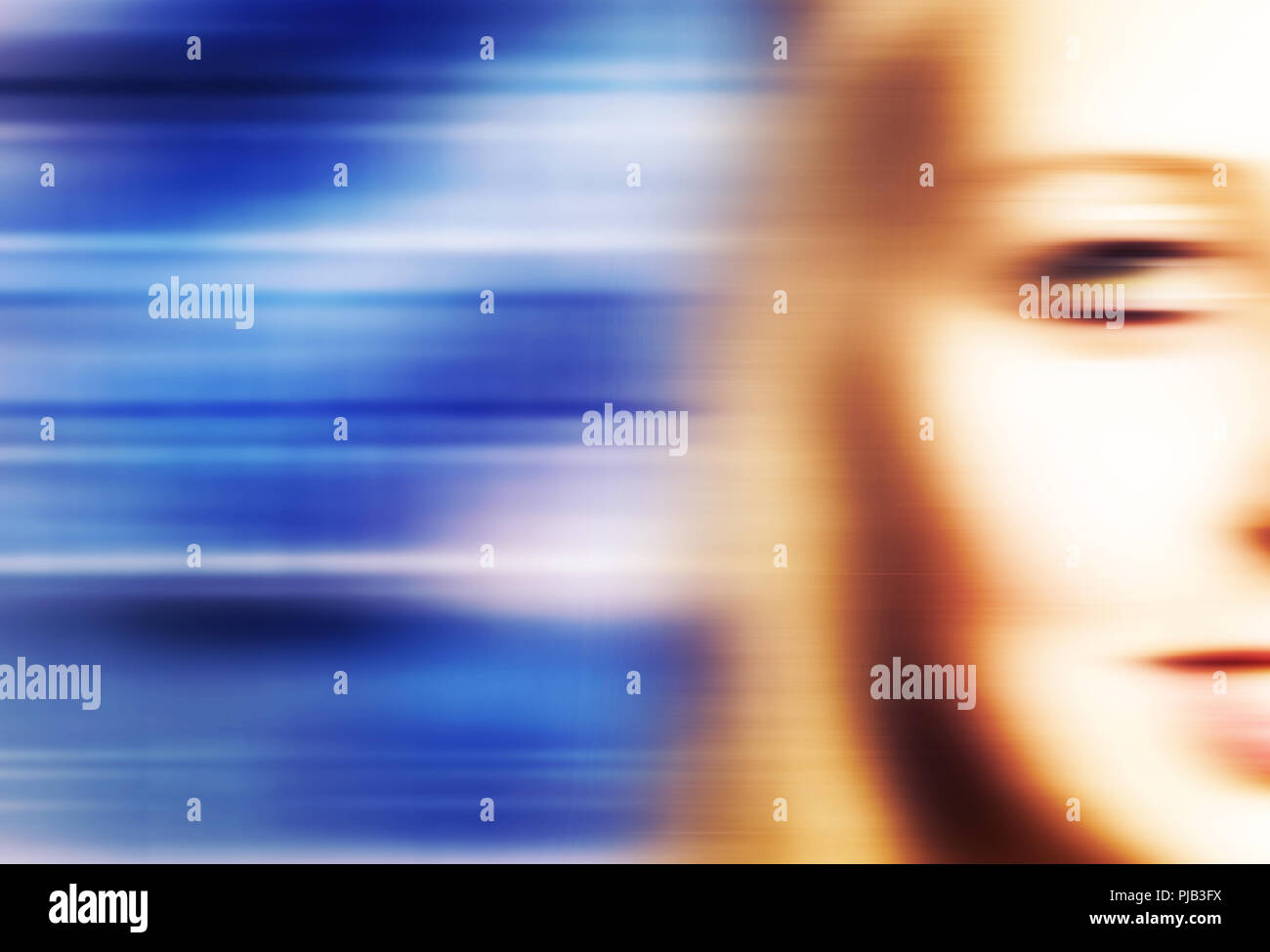 half face of a blond woman with motion blur effect - Stock Image