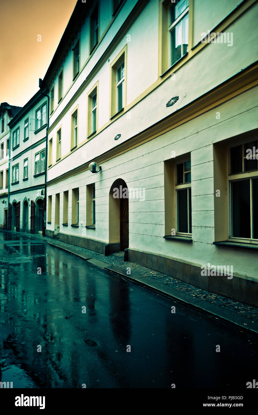 empty old town street in east Bohemia town of Pardubice - Stock Image