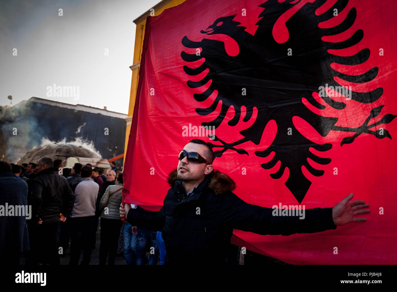 Citizen protests against the construction of a bunker next to the Ministry of Infrastructure at Skanderbeg Square in Tirana, Albania. - Stock Image
