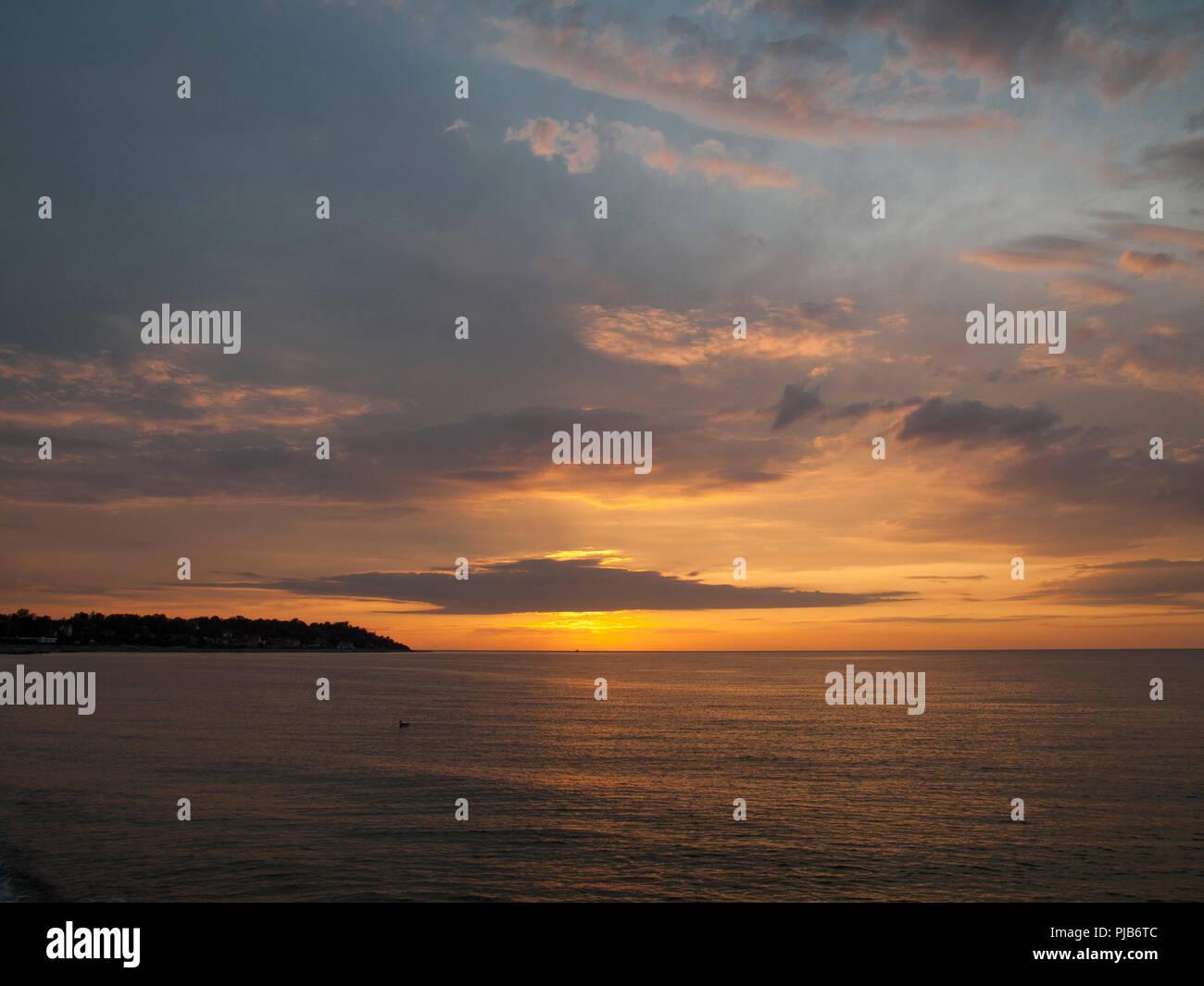 Sunset on the Kattegatt north of Sjaelland, Denmark. - Stock Image