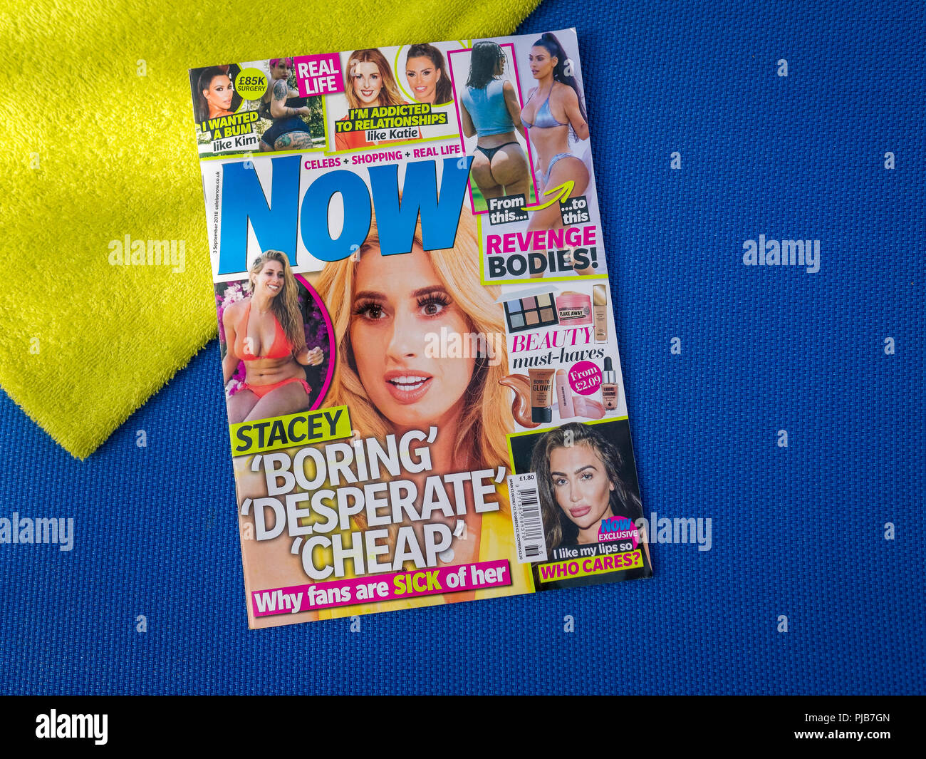 Copy of Now Magazine on a Sunbed, Now magazine is a weekly celebrity news round-up aimed at women readers, The magazine was launched in 1996. Stock Photo