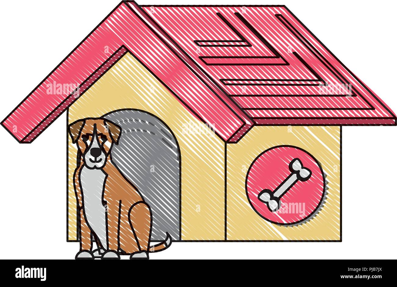 pet house with cute doberman dog over white background, vector illustration - Stock Image