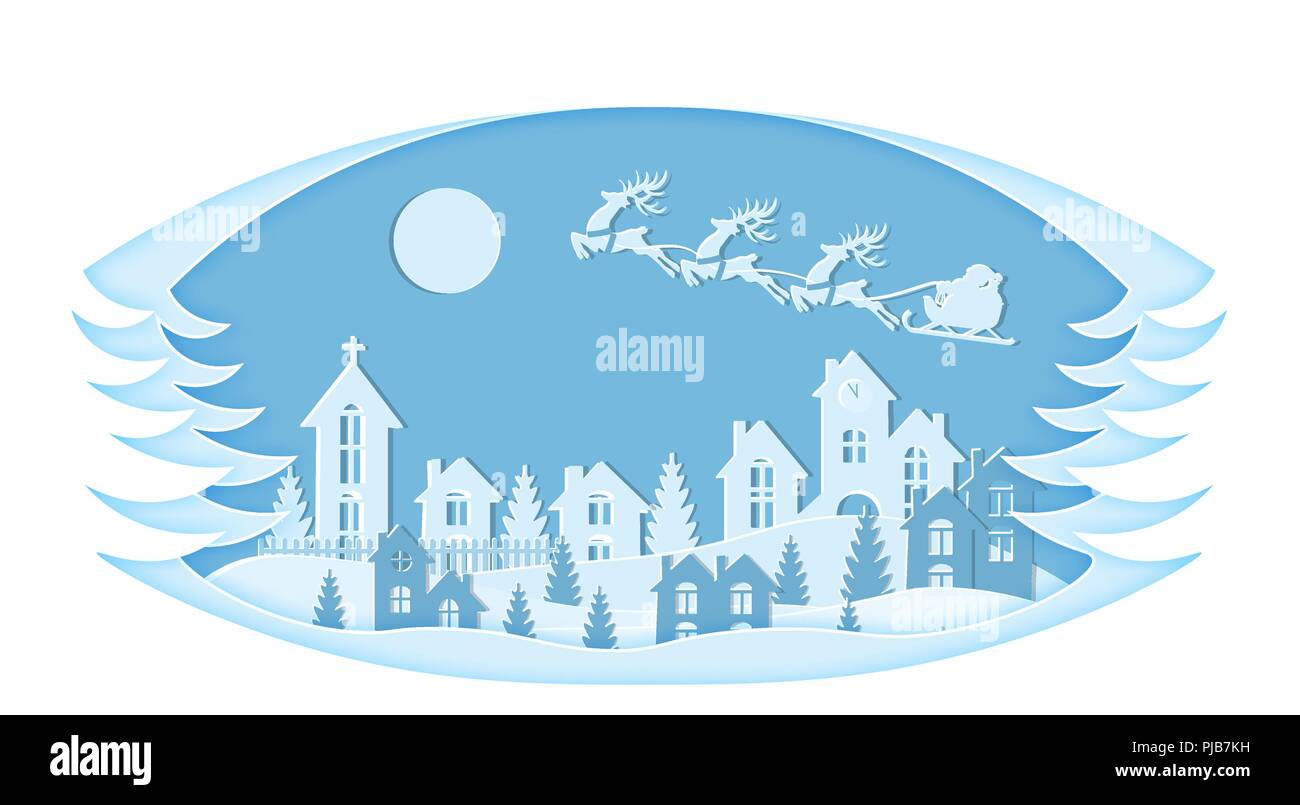 new year christmas stylized framework an image of santa claus and deer snow moon trees houses church christmas trees landscapes are cut from