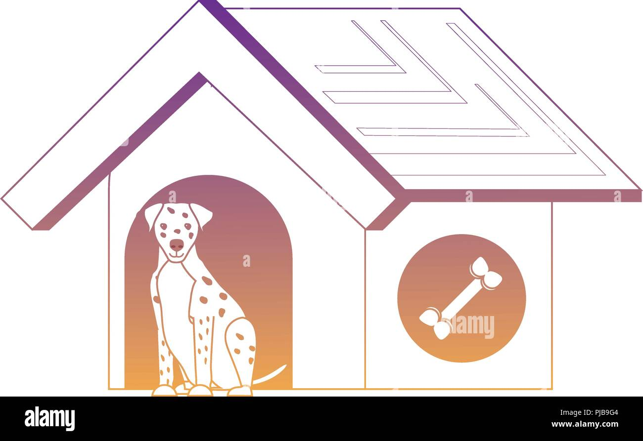 pet house with cute dalmatian dog over white background, vector illustration - Stock Vector